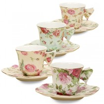 4 Assorted Rose Chintz Espresso Gift Boxed