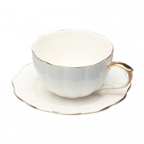 White Gold Scallop Cups and Saucers, Set of 4