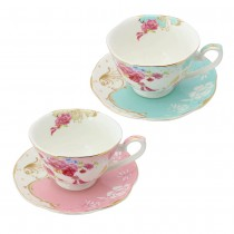 Pink/Blue Rose Dots Assorted Cups and Saucers, Set of 4