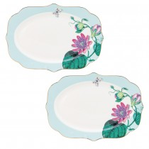 Floral and Palm Tree Oval Scallop Platter, Set of 4