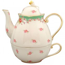 Green Vintage Rose 3 Piece Tea for One