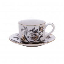 Black Gold Peony Coffee Cups and Saucers, Set of 4