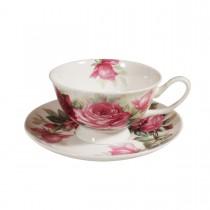 English Rose Tea Cups and Saucers, Set of 4