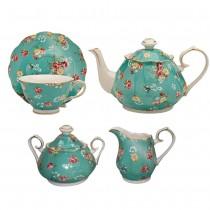 Shabby Rose Turq 11 Piece Tea Set