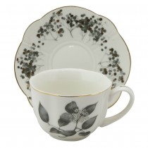 Black Matalic Leaves Cups and Saucers, Set of 4