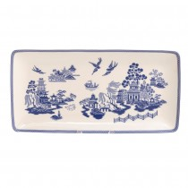 Blue Willow Bone China Loaf Tray, Set of 2