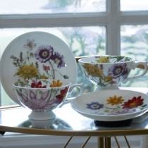 Bone China Yellow Orange Floral Tea/coffee Cups and Saucers, Set of 4