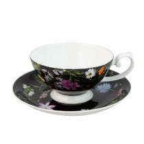 Summer Meadow Black  Cups with Saucers, Set of 4