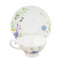 Summer Meadow Cups with Saucers, Set of 4