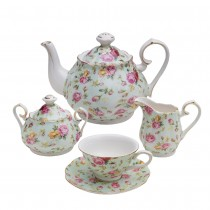 Blue Cottage Rose Chintz 11 Piece Teaset